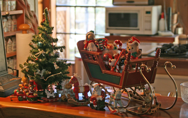Sleigh Tree And Gifts On Bar Top Decorated Christmas